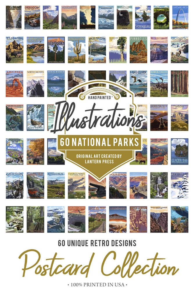 60 National Parks - Postcard Set of 60 Different Original Hand Illustrated Postcards by Lantern Press