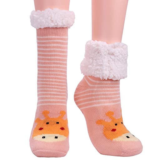 aadd12fb38bf7 Womens Fuzzy Slipper Socks Ladies Fleece Lined Cozy Winter Thermal Warm  Home Socks with Grippers