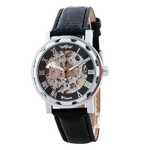 Winner Skeleton Reloj Dial Negro comecánico Auto Hombres: Amazon.es: Relojes