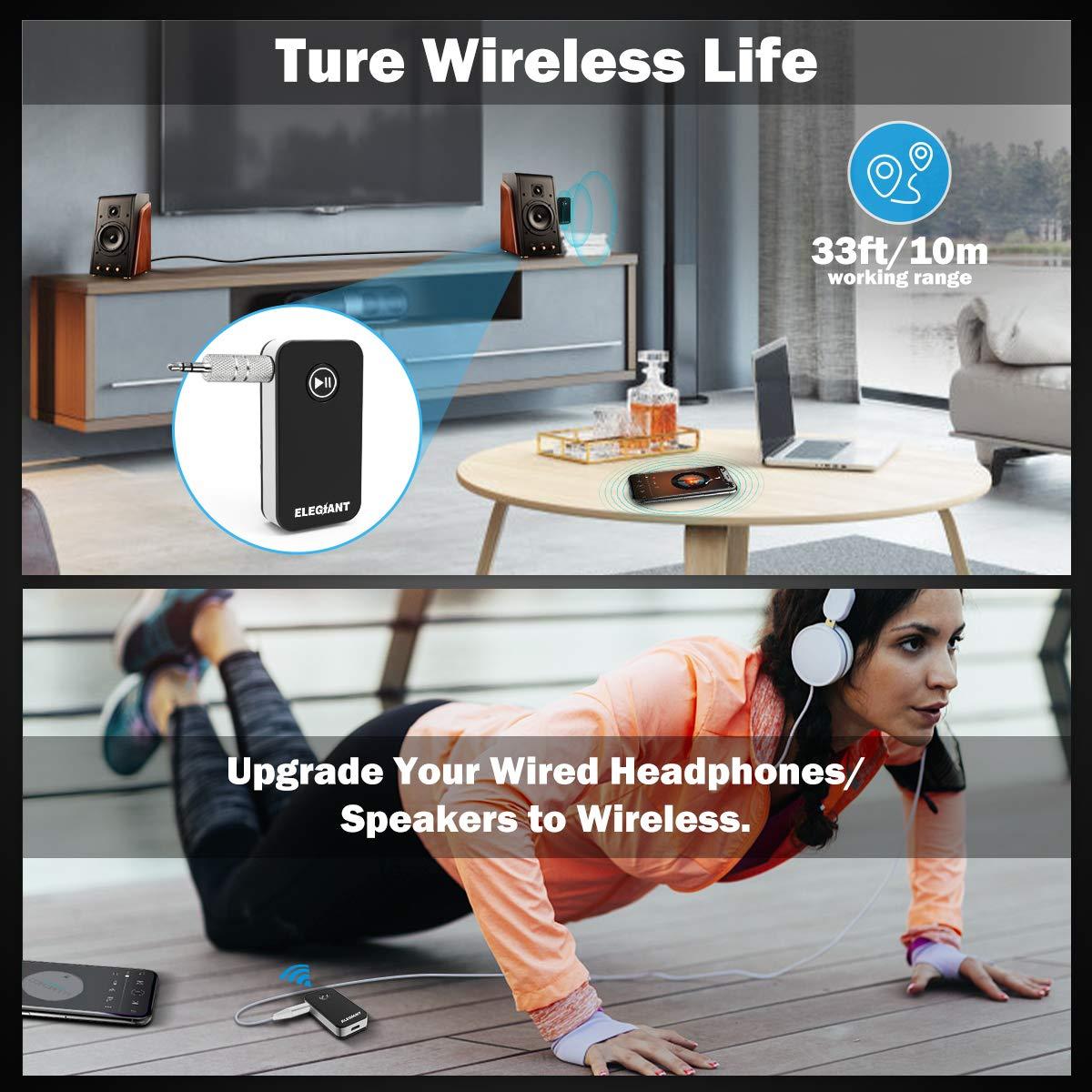 Adattatore Audio Wireless per Cuffie Altoparlanti Stereo TV PC Tablet Laptop Car iPhone XS Max XR x 8s iPad Samsung s10 s9 s8 Huawei P20 HTC ECC ELEGIANT Ricevitore Bluetooth