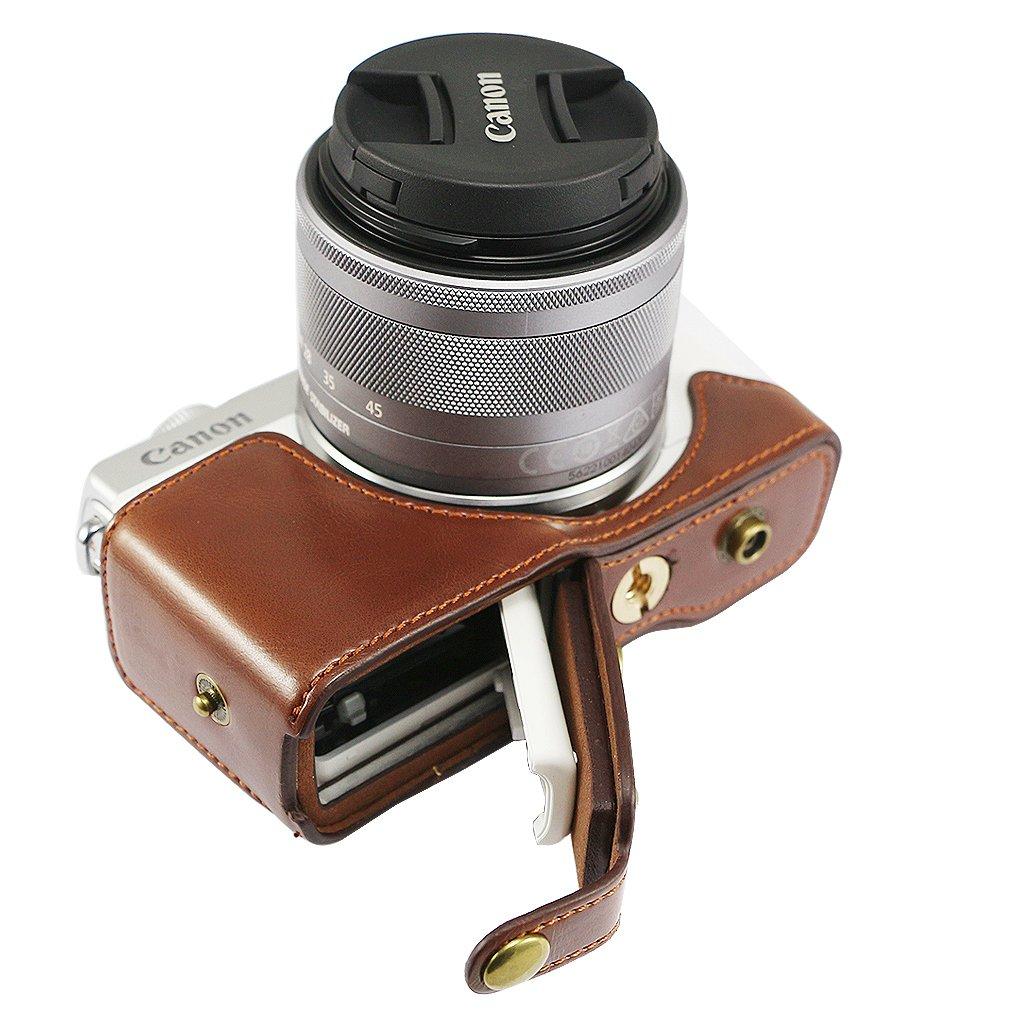 Marrone scuro Qualit/à premium Custodia Fondina in pelle sintetica per macchine fotografiche reflex compatibile con Canon EOS M100 EOS M10 con obiettivo 15-45mm XJD-EOS M100-HH10G11