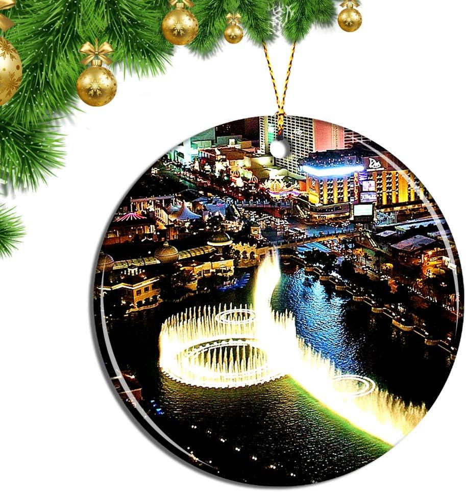 Nevada Christmas Souvenir Travel Gift Las Vegas Porcelain Ornament