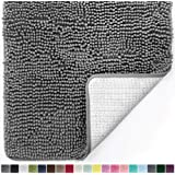 """Gorilla Grip Original Luxury Chenille Bathroom Rug Mat, Extra Soft, Durable, and Absorbent Shaggy Rugs, Machine Wash Dry, Perfect Plush Carpet Mats for Tub, Shower, and Bath Room, Chenille, Gray, 30"""" x 20"""""""