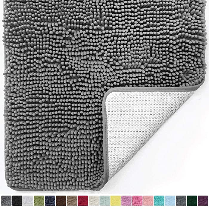 Gorilla Grip Original Luxury Chenille Bathroom Rug Mat, 24x17, Extra Soft and Absorbent Shaggy Rugs, Machine Wash Dry, Perfect Plush Carpet Mats for Tub, Shower, and Bath Room, Gray