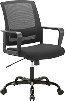 Amazon Com Clatina Ergonomic Rolling Mesh Desk Chair With Executive Lumbar Support And Adjustable Swivel Design For Home Office Computer Black Furniture Decor