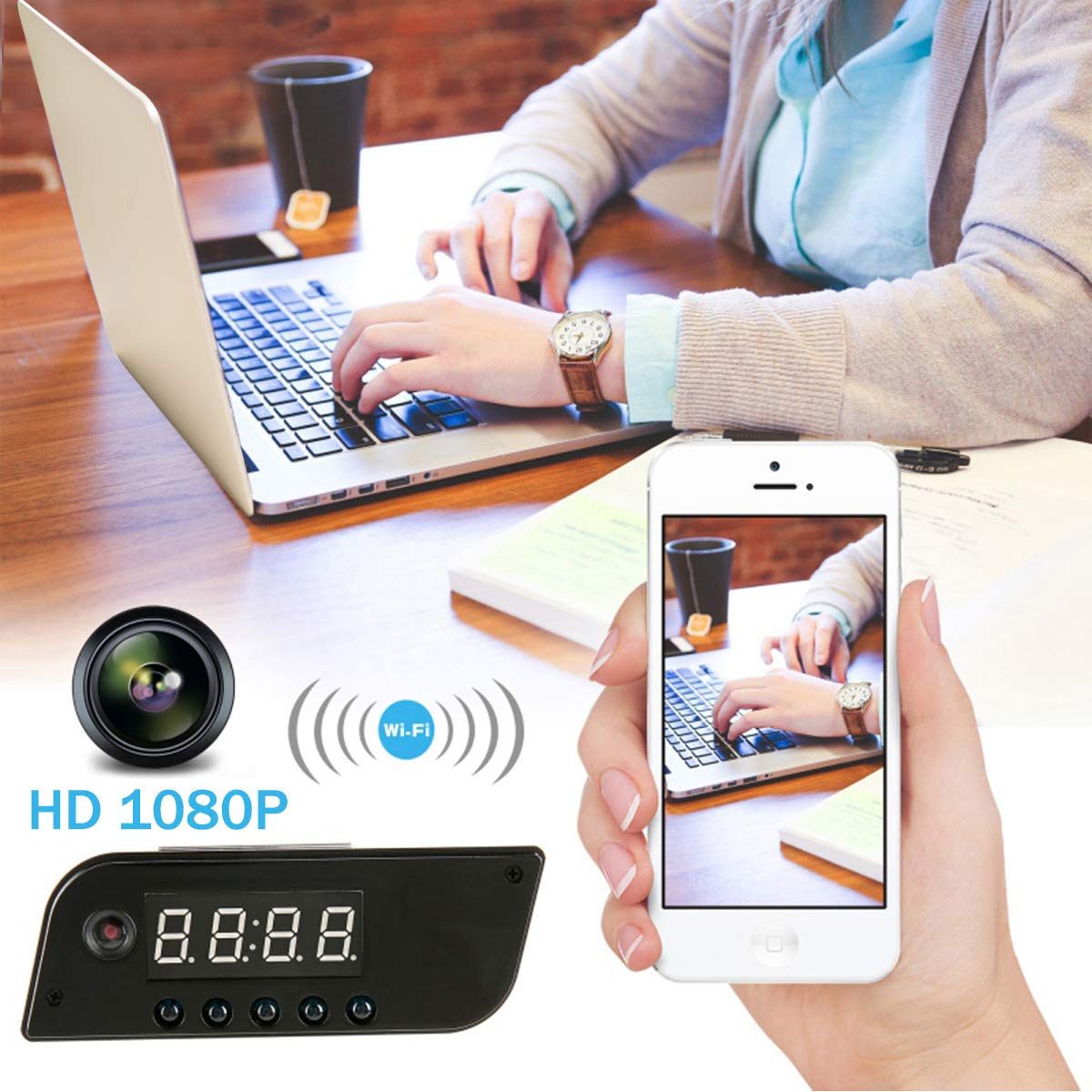 Camara Espia A-TION WiFi Despertador HD 1080P Cámara de Niñera P2P Inalámbrica Cámara de Seguridad Detección de Movimiento Grabador de Video Vigilancia ...