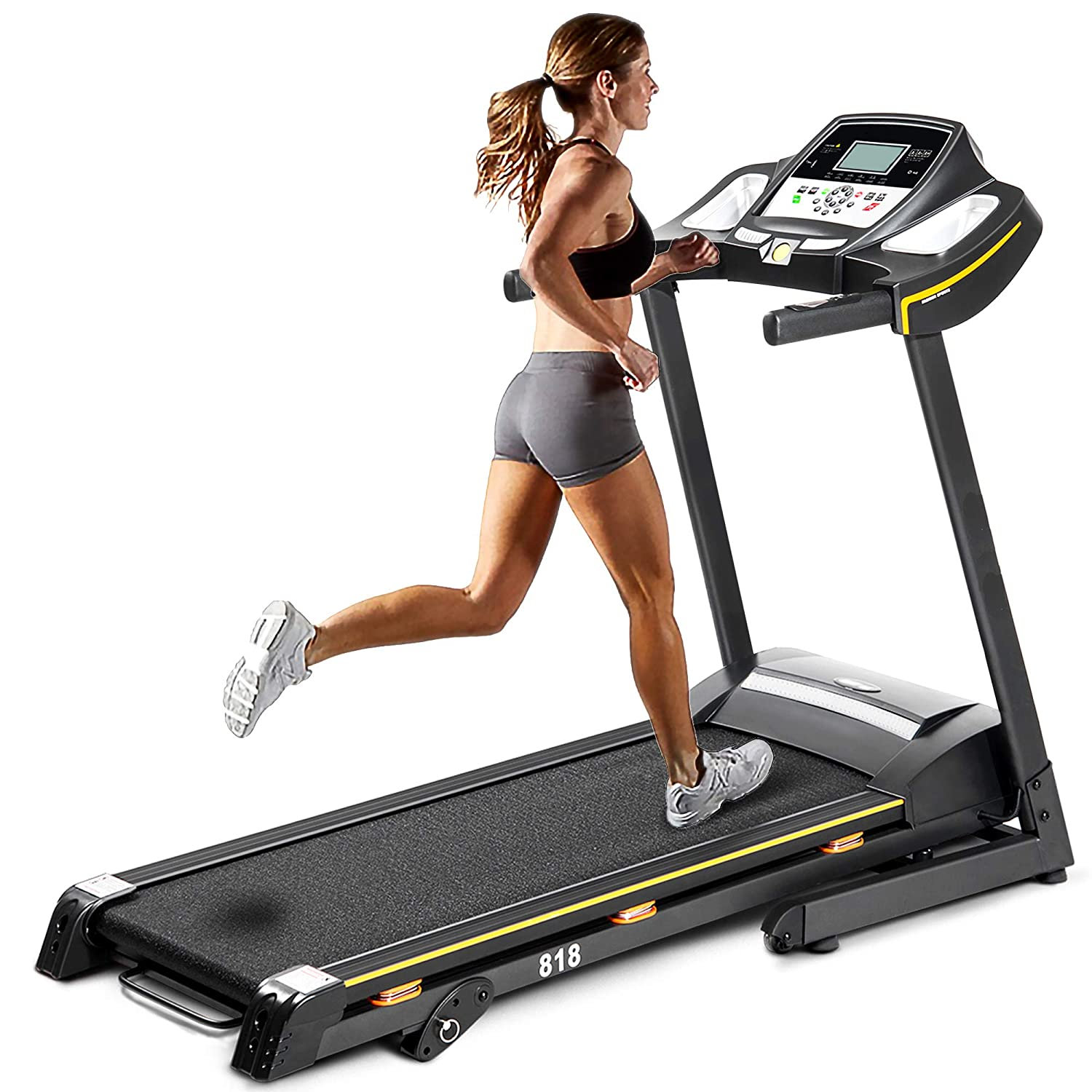 Julyfox Electric Running Treadmill with Incline, 2.25 HP Motorized Folding Treadmill Running Walking Jogging Home Exercise Machine W Heart Rate Monitor Cup Holder Safety Key Quiet Soft Drop
