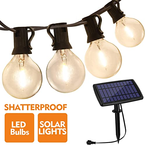 Aialun Outdoor String Lights Solar Powered, 30FT with 15 LED Shatterproof Bulbs, IP44 Waterproof Lights, Auto on Off for Outdoor Bistro Cafe Garden Backyard Balcony Porch Gazebo Decor
