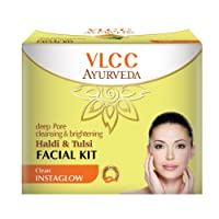 VLCC Ayurveda Deep Pore Cleansing and Brightening Haldi and Tulsi Facial Kit- 50g