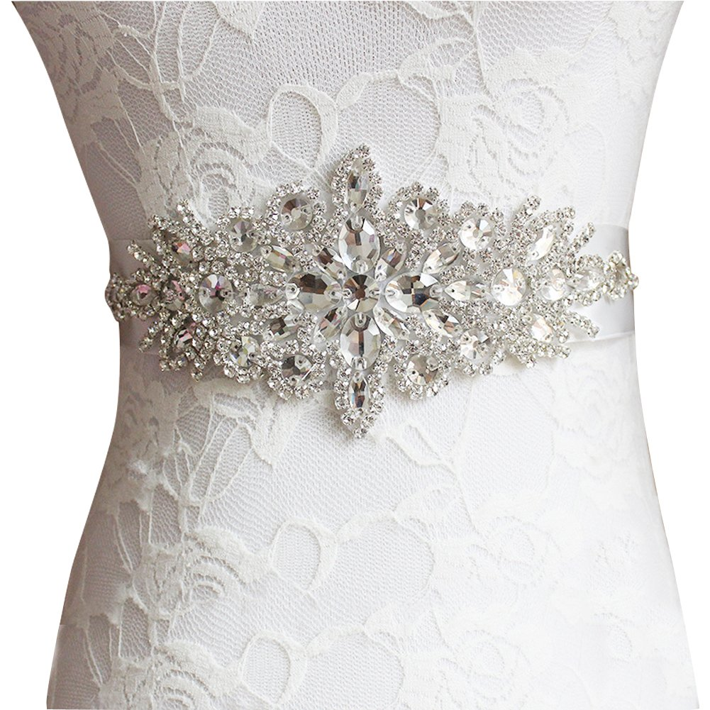 E-Clover Rhinestone Ribbon Sash Belt for Bridal Women's Wedding Dress Belt (Off White)