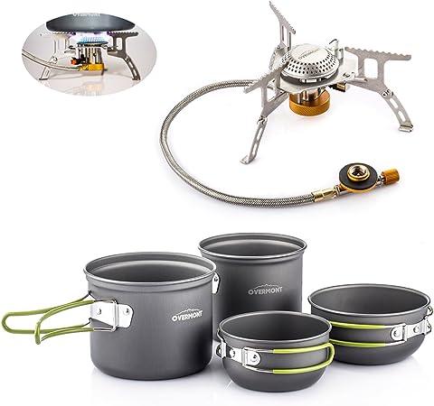 Overmont 4pics Kit de Utensilios de Cocina vajilla ollas para Camping Senderismo excursión al Aire Libre de Aluminio Hornillo Cocina Estufa Metal de ...