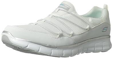 b1971dd0 Skechers Sport Women's Loving Life Memory Foam Fashion Sneaker,White/Silver,6  M