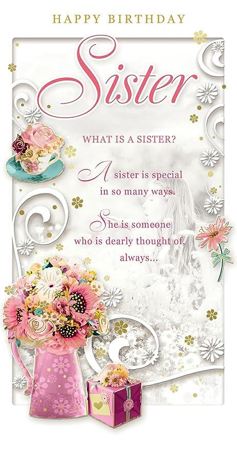 Tarjeta de felicitación de cumpleaños para hermana - Happy ...