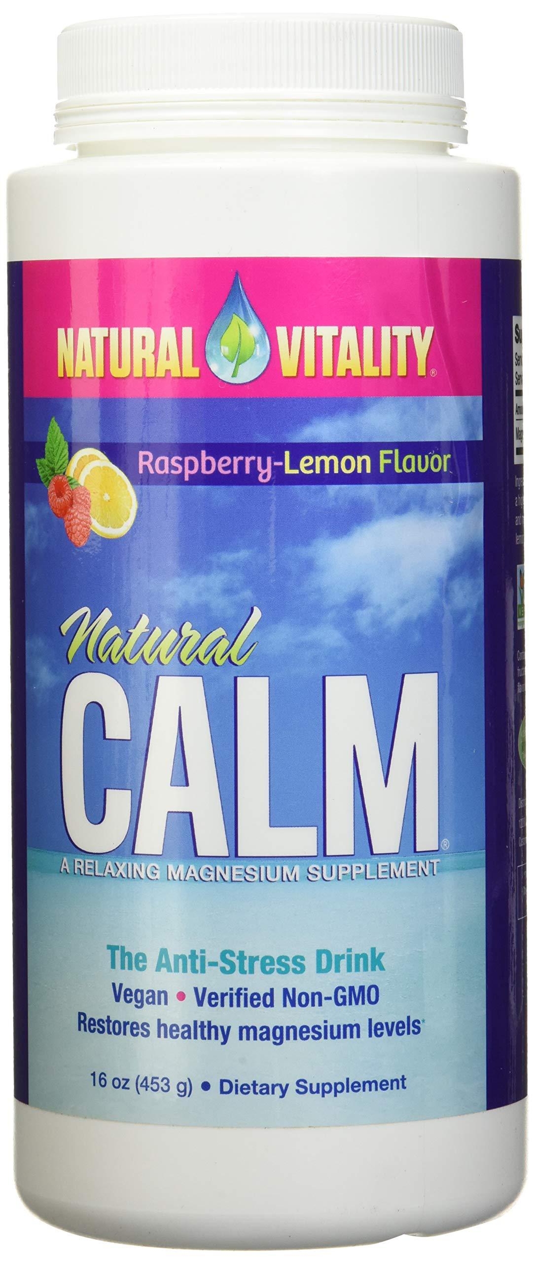 Natural Vitality Natural Calm Magnesium, Powder, Raspberry Lemon 16 Ounce 2-Pack