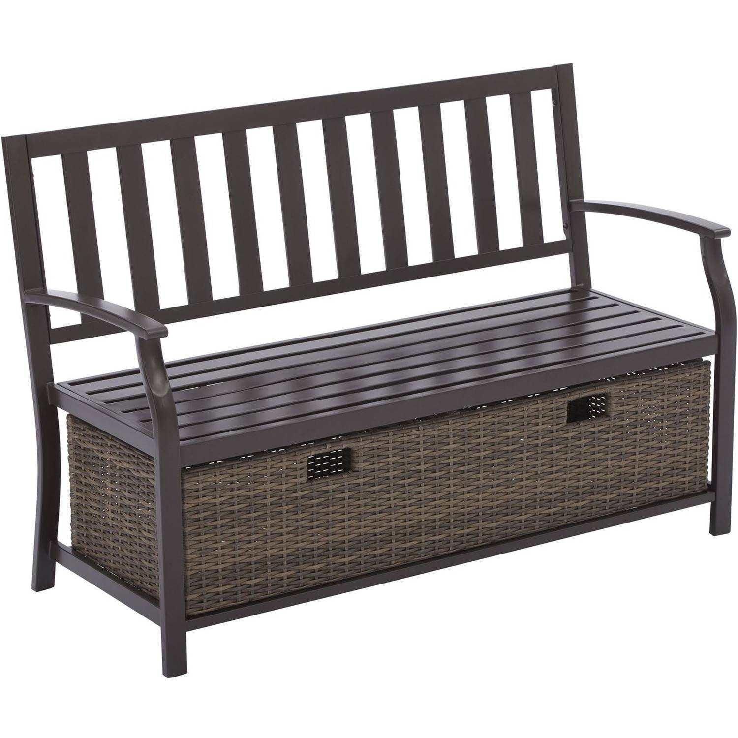 Better Homes and Gardens Camrose Farmhouse Bench with Wicker Storage Box