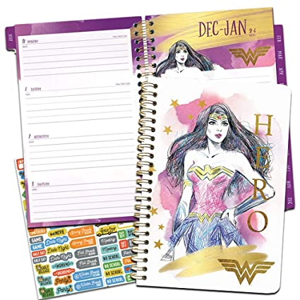 Wonder Woman 2019 PlannerSet - Deluxe 2019 Wonder Woman Weekly Monthly Planner with Calendar Stickers (Spiral Bound, Hardcover; Office Supplies)