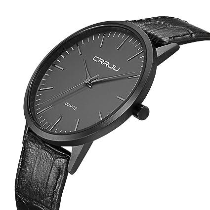 57732d59754b Timewheel Fashion Slim Quartz Watches for Men Simple Stylish Waterproof Leather  Mens Wrist Watch in Black  Amazon.in  Home   Kitchen