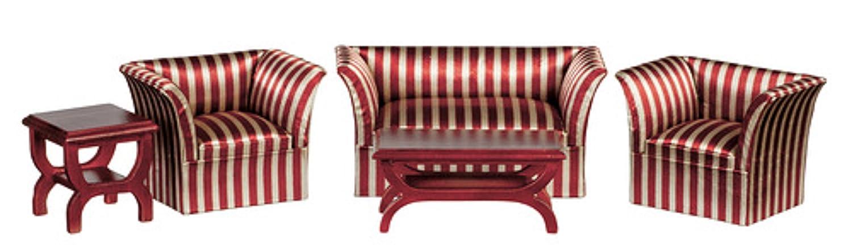 MELODY Jane Casa De Muñecas Caoba BURDEOS BEIGE Art Decó miniatura conjunto de muebles salón
