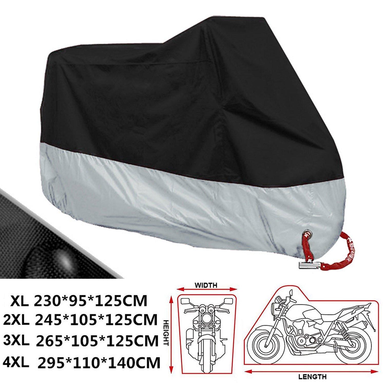 ANFTOP Funda para Moto 190T Cubierta 3XL Impermeable Agujeros de la Cerradura de Motocicleta Plateado y Negro Motorcycle Cover Talla XXXL