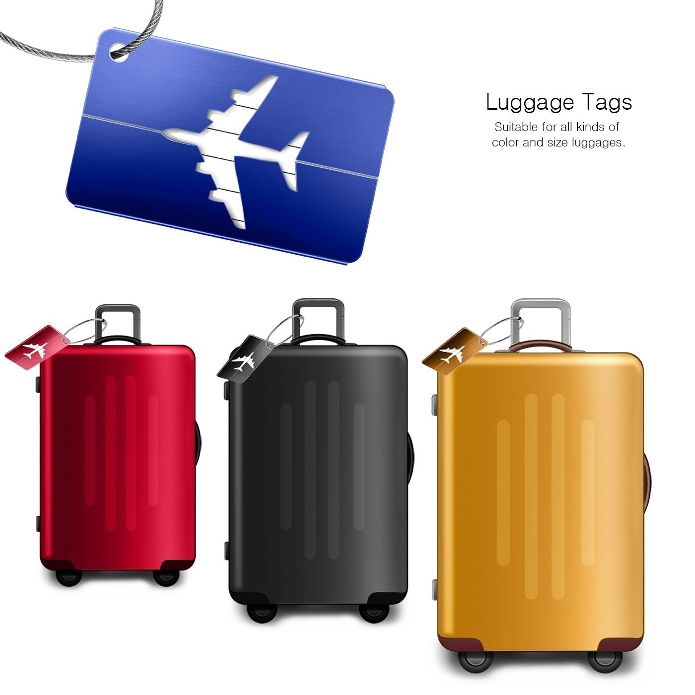 Luggage Tags 10pcs,Baggage Tags Tag Labels with Business Card Holder(10 colors) by Yosemy (Image #3)