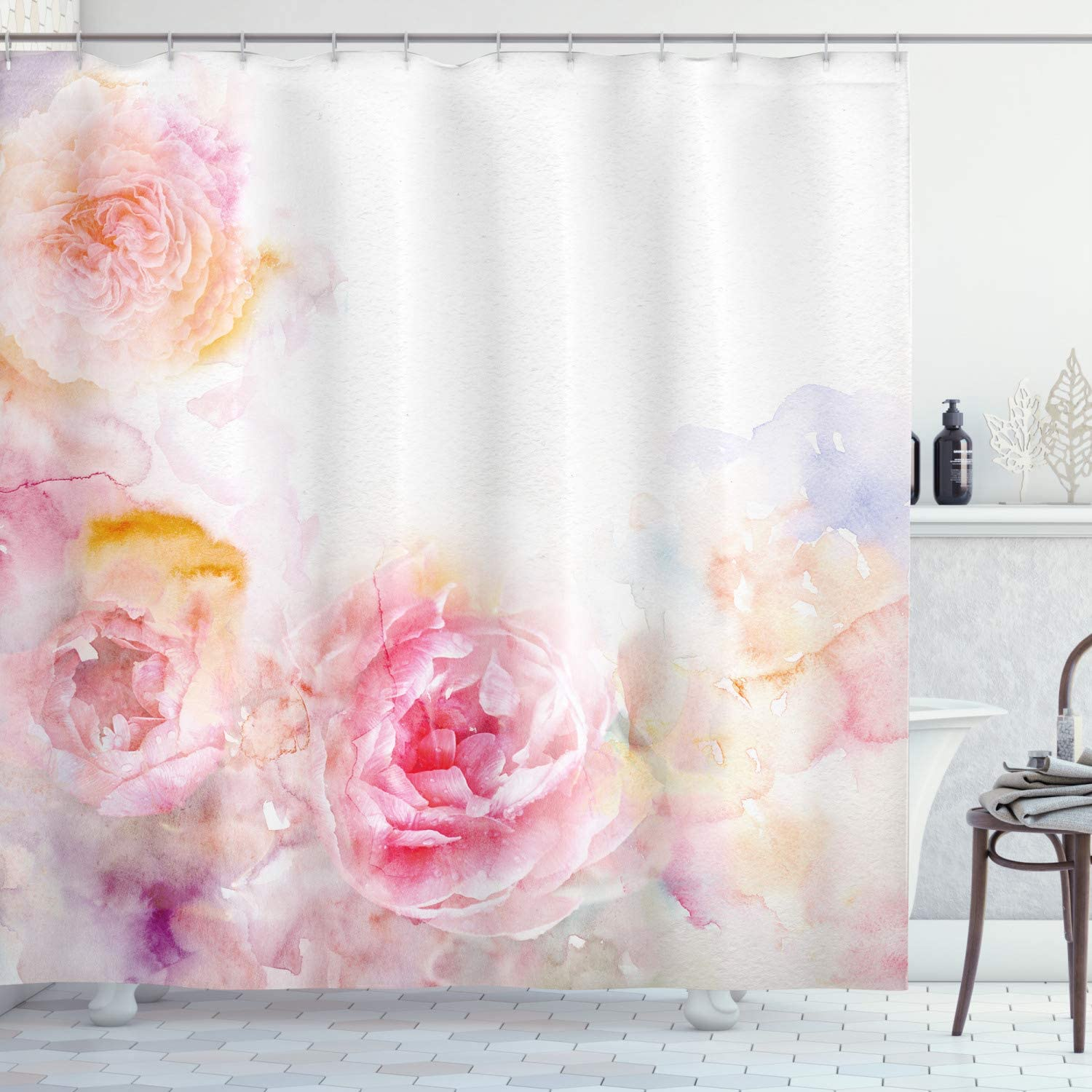 "Ambesonne Shabby Flora Shower Curtain, Nature Garden Romantic Victorian Flowers Roses Leaves Image, Cloth Fabric Bathroom Decor Set with Hooks, 70"" Long, Pale Pink Hot Pink"