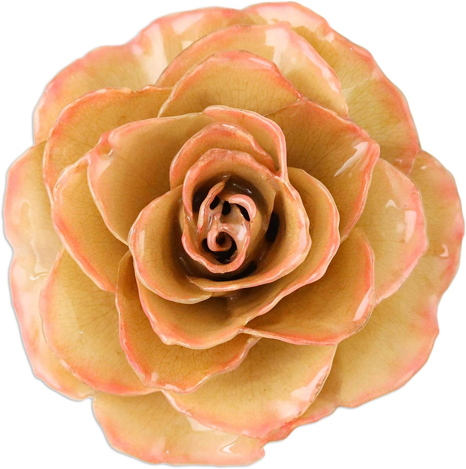 Rosy Mood in Cream NOVICA 24k Gold Plated Natural Rose Brooch