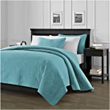 Chezmoi Collection Austin 3-piece Oversized Bedspread Coverlet Set (King, Turquoise)