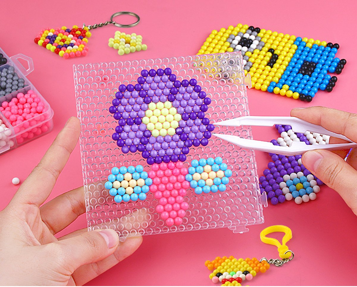 Aqua water beads Beginners Studio perler fusion Craft beads Art Crafts toys for kids non toxic with bead palette, layout table, bead pen, bead peeler, sprayer, template sheets -15 colors(2400pcs) by QIAONIUNIU (Image #3)