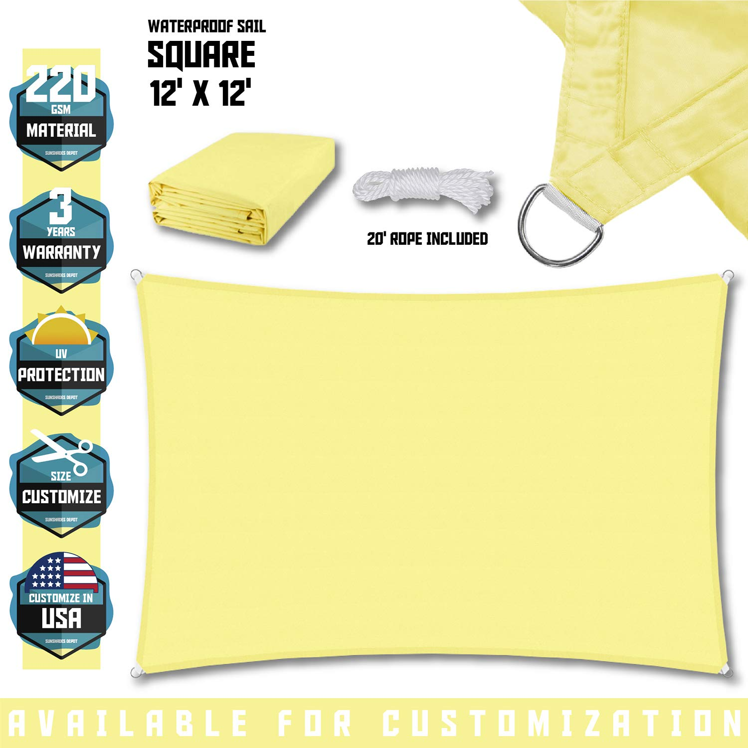 TANG Sunshades Depot 12 x12 Square Waterproof Knitted Shade Sail Curved Edge Canary Yellow 220 GSM UV Block Shade Fabric Pergola Carport Canopy Replacement Awning Customize Available