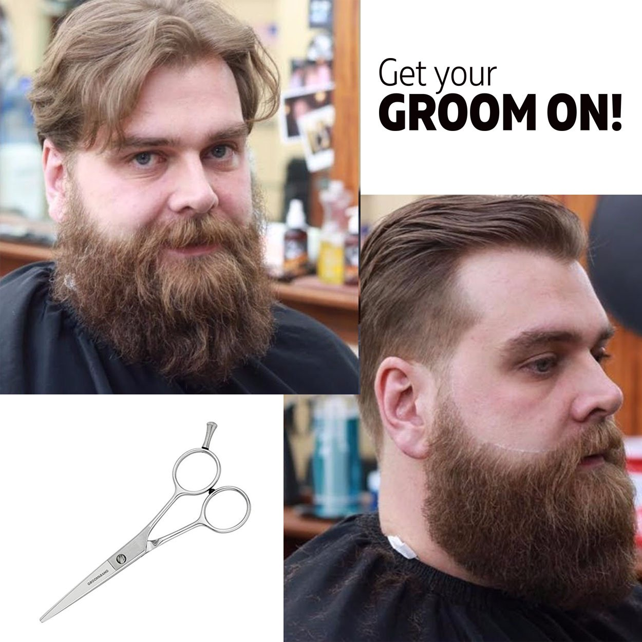Tijeras profesionales Groomarang Edward para bigote o barba, con bolsa de regalo: Amazon.es: Belleza