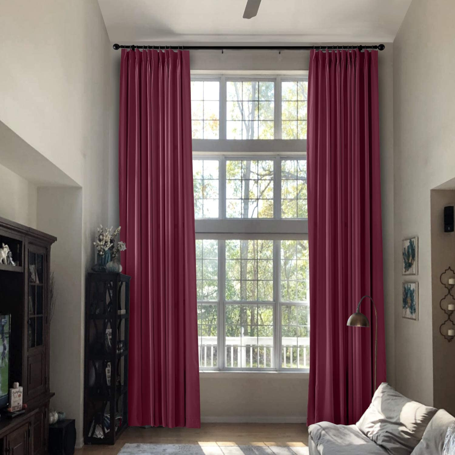 Prim Extra Long Drapes 240 Inches Long Modern Window Curtains Pinch Pleat Blackout Room Darkening Curtains For Loft Burgundy Red 1 Panel Amazon Co Uk Kitchen Home
