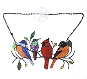 Window Hangings Multicolor Birds on a Wire High Window Panel,Bird Series Ornaments Pendant Home Decoration, Gifts for Lover Mother's Day (4 Birds, Metal)