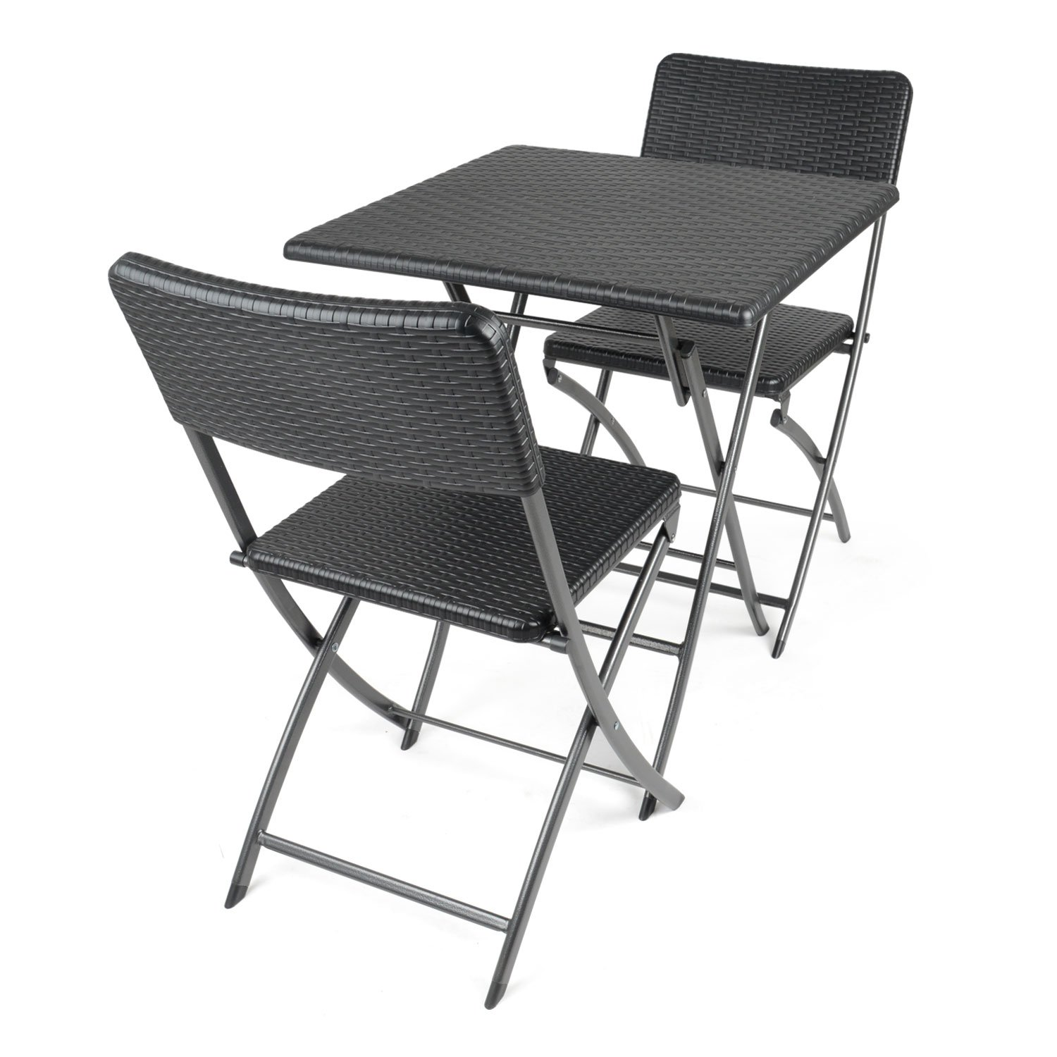CHRISTOW Poly Rattan 6ft Folding Table 6 Chairs Set Garden Patio Camping Outdoor Dining