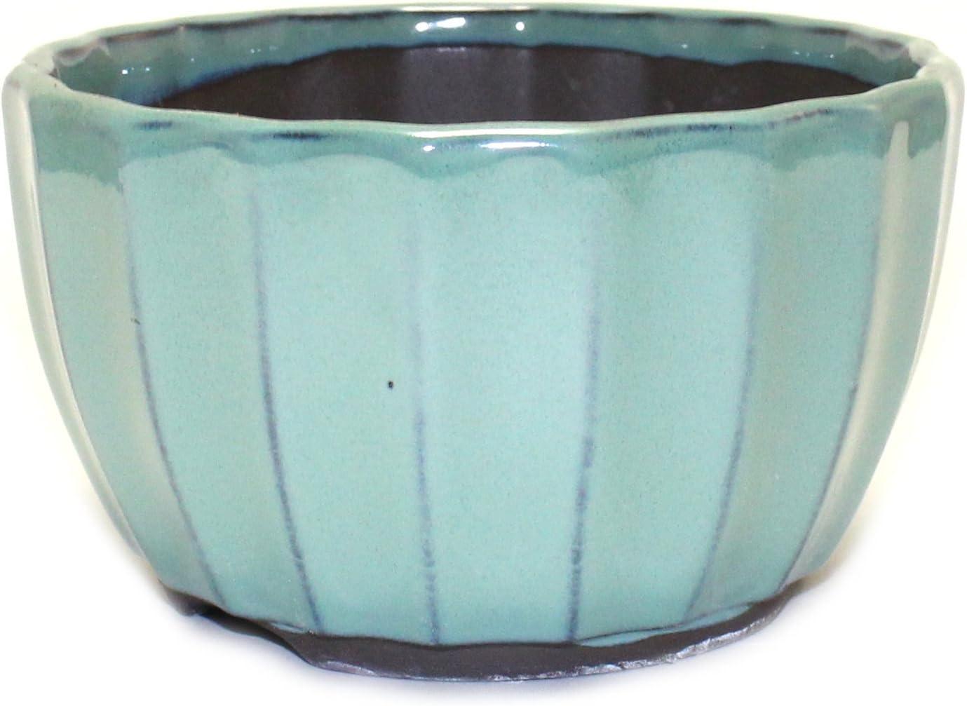"""Bonsai Pot Ceramic Chrysanthemum Flower Shape Glazed (5"""", Oribe-Yu)"""