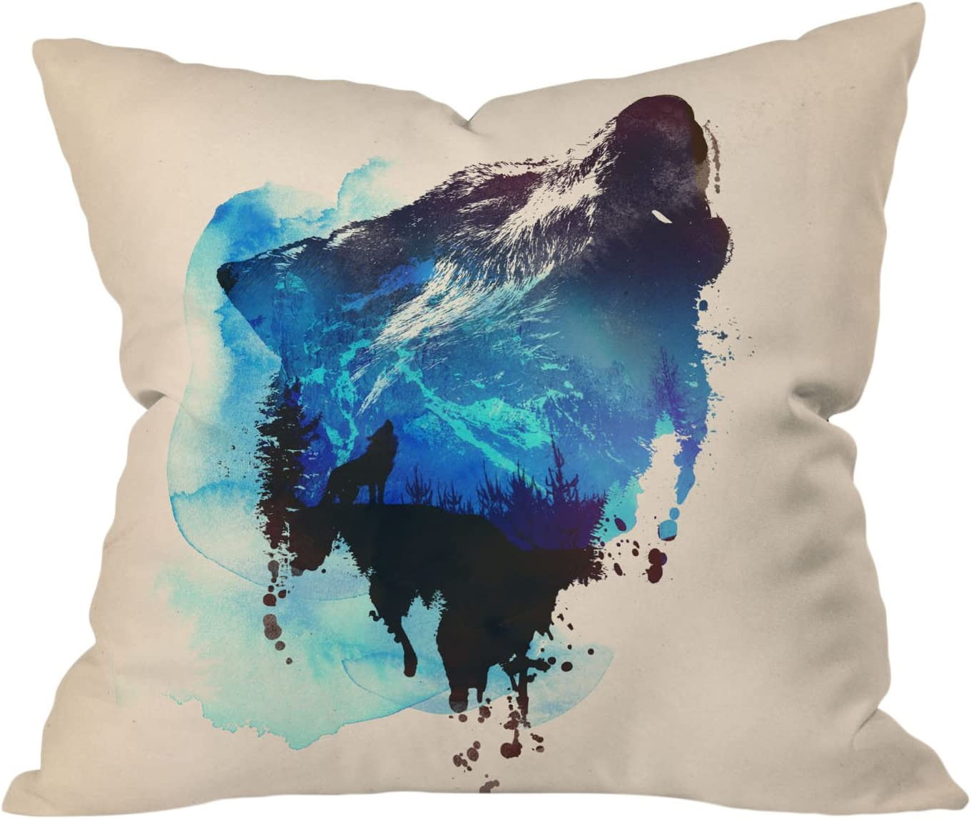 DENY Designs Robert Farkas Angry Lion Throw Pillow 16 by 16-Inch