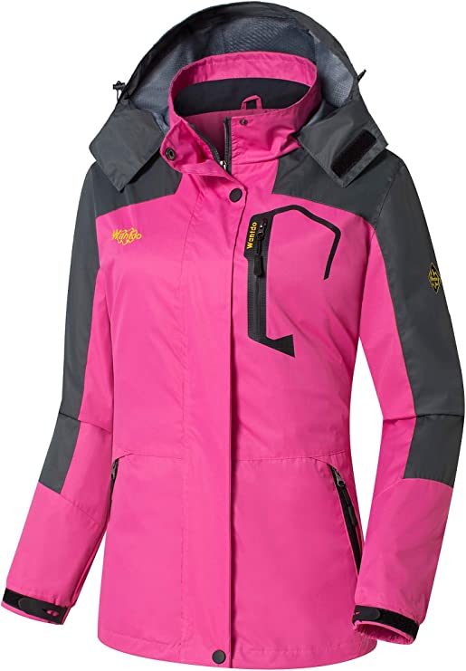 Wantdo Women's Hooded Outdoor Lightweight Water Resistant Ski Jacket Windproof Raincoat(Rose Red,Small)