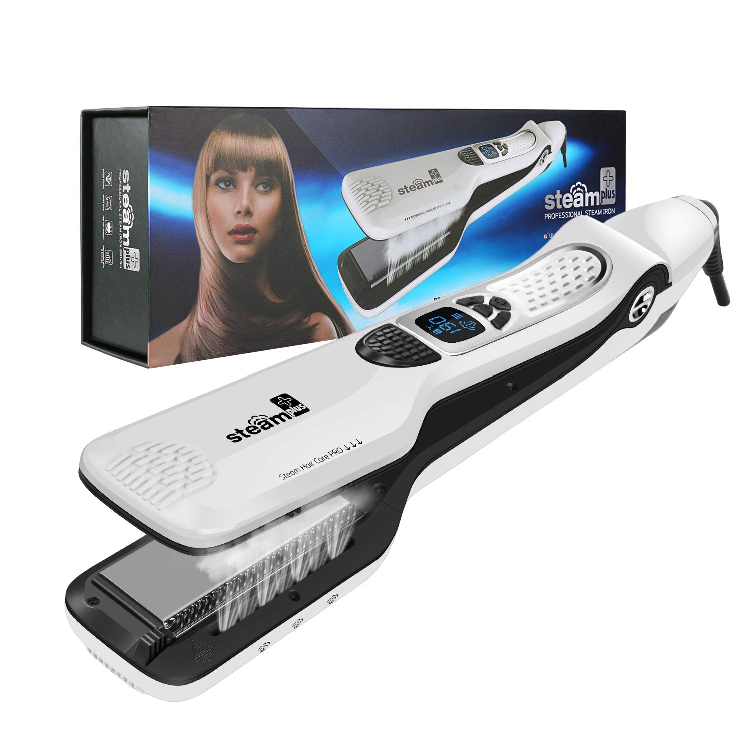 MKBOO Hair Straightener Salon Professional Nano Titanium Ceramic Steam Flat Iron for Hair Styler with Removable Comb Digital LCD 5 Level Adjustable Temperature Curling Iron for All Hair Type-White