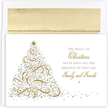 Traditional Wreath 16 pack Boxed Christmas Holiday Cards with Lined Envelopes