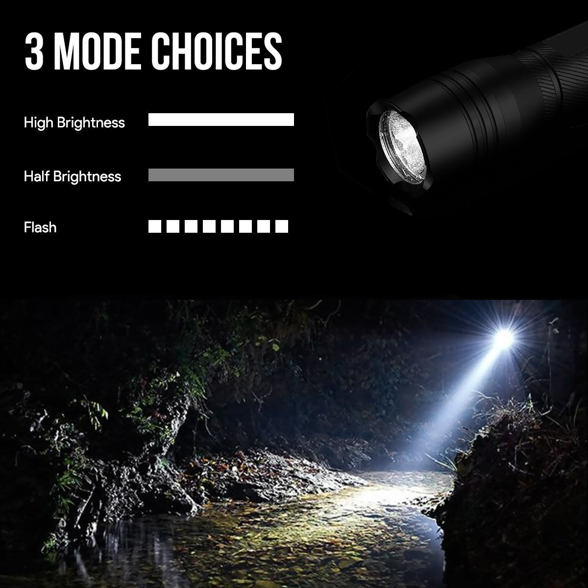 Le 700lm Rechargeable Led Tactical Flashlight Torch High Brightness 1000lm Circuit Light Longrange Hiking Camping 3 Mode 10w 2000 Mah 18650 Battery Usb Cable Included Portable Searching