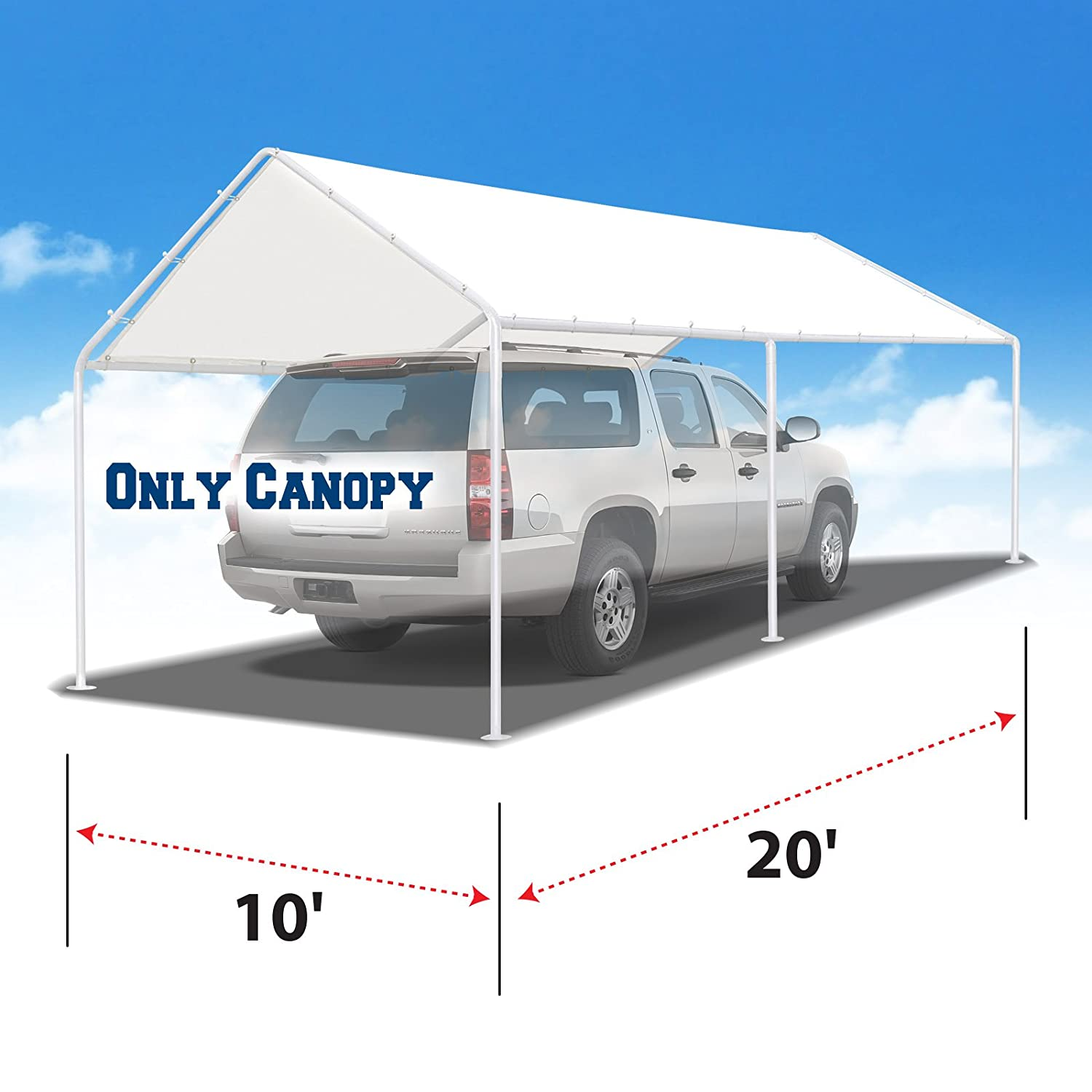 BenefitUSA 10'x20' Carport Replacement Canopy Garage Top Tarp Shelter Cover w Ball Bungees (Cover Only) (with Edge) CG