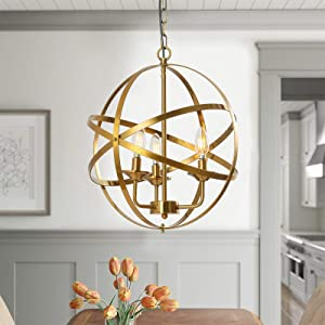 Popity home 3 Light Gold Chandelier Hollow Out Metal Spherical Pendant Light, Globe Hanging Lighting Fixture for Kitchen Island Dining Room Foyer Entryway Living Room