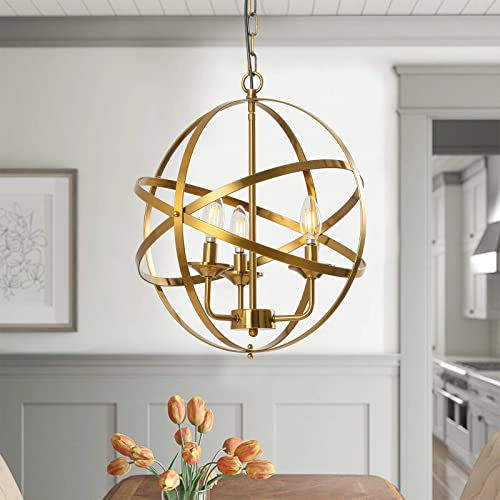 Popity home 3 Light Gold Chandelier Hollow Out Metal Spherical Pendant Light