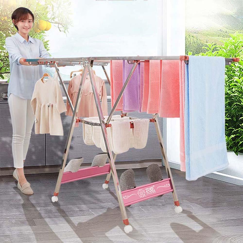 スタンドアローン衣類乾燥機丈夫な丈夫なラック、特に狭いドアのための狭いサッシ乾燥機1.4M、1.5M、1.6Mピンク (サイズ さいず : 1.4M) B07CZVZTGL  1.4M