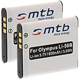 2 Batterie Li-50b per Olympus SP-800UZ SP-810UZ SZ-10 SZ-20 SZ-30 XZ-1..Vedi lista