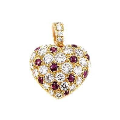 61d81de9b85 Amazon.com: Luxury Bazaar Cartier 18K Yellow Gold Diamond & Ruby Pave Heart  Pendant: Jewelry