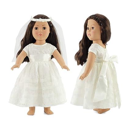 427986fa0 Amazon.com: 18 Inch Doll Bridal Gown | Doll Communion Dress or Wedding |  Fits 18