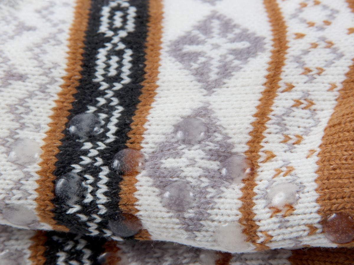 Trend-world Chaussettes dhiver antid/érapante Confortables Taille Unique 37-42 avec Une Doublure Super Douce id/ée Cadeau de Noel Femme Homme id/éale pour la Maison et au lit SO-W-113-1 wei/ß Lila Grau