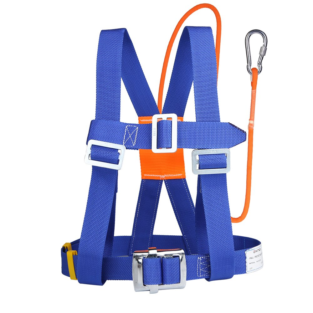 XINDA Safety Harness Fall Protection - Half Body Rock Climbing Harness for Women, Fall Arrest Harness Lanyard with Small Steel Carabiner or Big Snap Hook, Fall-Arrest-Safety-Harness (半身蓝色小钩)