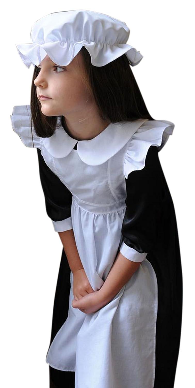Confettery - Mädchen Karneval Komplett Kostüm Dienstmädchen, Mehrfarbig, Größe 134-146, 9-11 Jahre