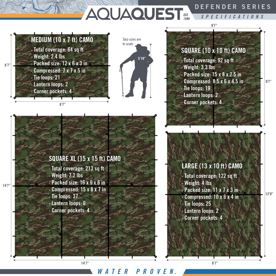 15x15 Camo or Olive Drab/… 10x10 Aqua Quest Defender Tarp 10x7 100/% Waterproof Heavy Duty Nylon Bushcraft Survival Shelter 13x10